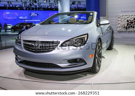 NEW YORK - APRIL 1: Buick exhibit Buick Cascada at the 2015 New York International Auto Show during Press day,  public show is running from April 3-12, 2015 in New York, NY. - stock photo