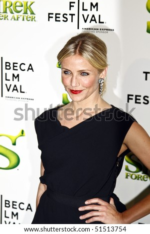 """NEW YORK - APRIL 21: Cameron Diaz attends the """"Shrek Forever After"""" premiere during the 2010 Tribeca Film Festival at the Ziegfeld Theatre on April 21, 2010 in NYC. - stock photo"""