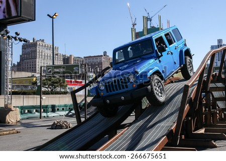 NEW YORK - APRIL 1: Camp Jeep outside Javits Center at the 2015 New York International Auto Show during Press day,  public show is running from April 3-12, 2015 in New York, NY. - stock photo