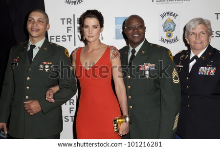 NEW YORK - APRIL 28: Cobie Smulders & military officers attend 'Marvel's The Avengers' Premiere during the 2012 Tribeca Film Festival at Borough of Manhattan Community College on April 28, 2012 in NYC