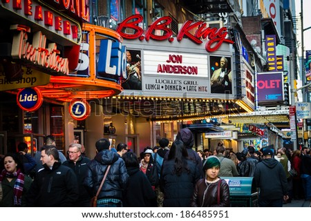 NEW YORK-APRIL 5: Crowds on the street outside of BB Kings on April 5  2014 in Manhattan. BB Kings is a popular venue for live popular music and dining in mid town Manhattan. - stock photo