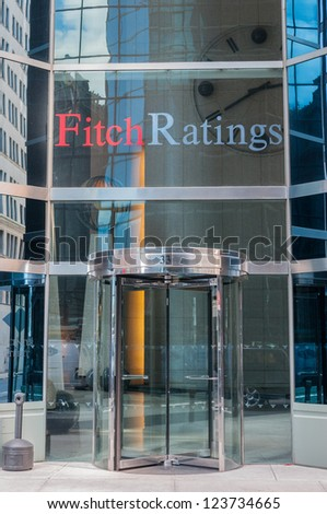 NEW YORK - APRIL 4: Fitch Ratings office building in New York, New York on April 4, 2012. Fitch Ratings is a global rating agency founded in 1913.