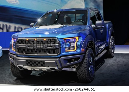NEW YORK - APRIL 1: Ford exhibit Ford Raptor at the 2015 New York International Auto Show during Press day,  public show is running from April 3-12, 2015 in New York, NY. - stock photo