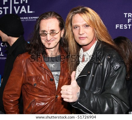 "NEW YORK - APRIL 24: Geddy Lee (L) and Sebastian Bach (R) attend the ""RUSH: Beyond the Lighted Stage"" premiere during the 2010 TriBeCa Film Festival at the School of Visual Arts Theater on April 24, 2010 in New York City. - stock photo"