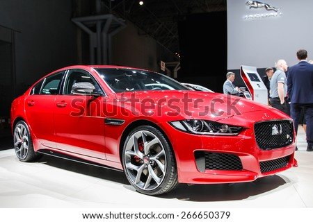 NEW YORK - APRIL 1: Jaguar exhibit Jaguar XE at the 2015 New York International Auto Show during Press day,  public show is running from April 3-12, 2015 in New York, NY. - stock photo