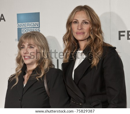 NEW YORK - APRIL 23: Julia Roberts and Lisa Gillan attend premiere of 'Jesus Henry Christ' at the 2011 Tribeca Film Festival on April 23, 2011 in New York City - stock photo