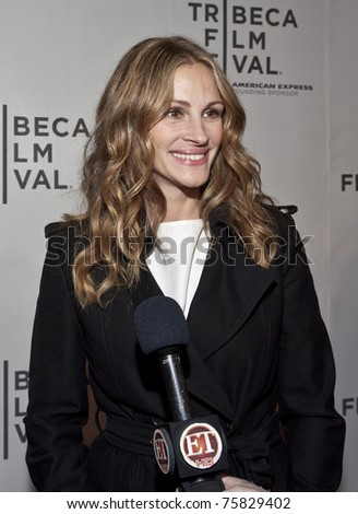 NEW YORK - APRIL 23: Julia Roberts gives interview to ET at premiere of 'Jesus Henry Christ' at the 2011 Tribeca Film Festival on April 23, 2011 in New York City - stock photo