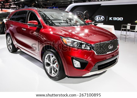 NEW YORK - APRIL 1: KIA exhibit KIA Sorento SX AWD at the 2015 New York International Auto Show during Press day,  public show is running from April 3-12, 2015 in New York, NY. - stock photo