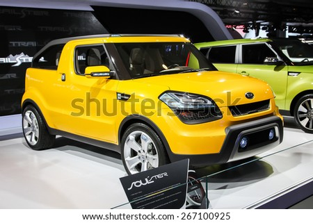 NEW YORK - APRIL 1: KIA exhibit KIA Soul Ter at the 2015 New York International Auto Show during Press day,  public show is running from April 3-12, 2015 in New York, NY. - stock photo