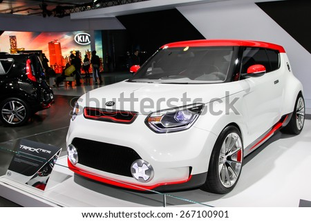 NEW YORK - APRIL 1: KIA exhibit KIA Trackter at the 2015 New York International Auto Show during Press day,  public show is running from April 3-12, 2015 in New York, NY. - stock photo