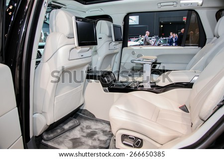 NEW YORK - APRIL 1: Land Rover exhibit Range Rover at the 2015 New York International Auto Show during Press day,  public show is running from April 3-12, 2015 in New York, NY. - stock photo