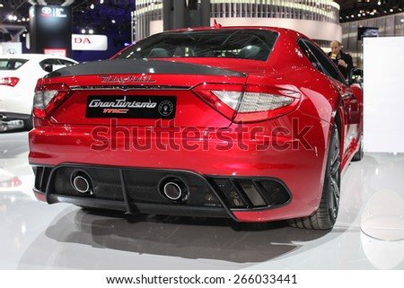 NEW YORK - APRIL 1: Maserati exhibit  GranTurismo  MC Centennial Edition at the 2015 New York International Auto Show during Press day,  public show is running from April 3-12, 2015 in New York, NY. - stock photo