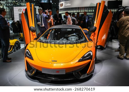 NEW YORK - APRIL 1: McLaren exhibit McLaren 570 S at the 2015 New York International Auto Show during Press day,  public show is running from April 3-12, 2015 in New York, NY. - stock photo