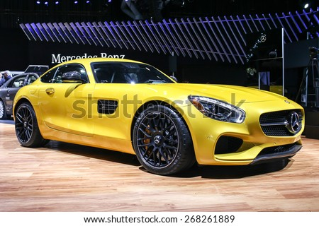 NEW YORK - APRIL 1: Mercedes-Benz  exhibit AMG GT S at the 2015 New York International Auto Show during Press day,  public show is running from April 3-12, 2015 in New York, NY. - stock photo