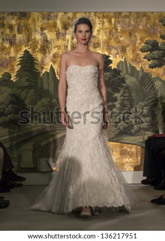 NEW YORK - APRIL 21: Model walks runway for collection by Anne Barge during Bridal week in The Hyde Room of London Hotel on April 21, 2013 in New York City - stock photo