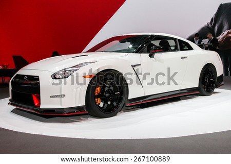 NEW YORK - APRIL 1: Nissan exhibit  Nissan GT-R Nismo at the 2015 New York International Auto Show during Press day,  public show is running from April 3-12, 2015 in New York, NY. - stock photo