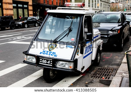 NEW YORK - April 8: NYPD Police vehicle view near Franklin street  on April 8, 2016 in New York, NY. - stock photo