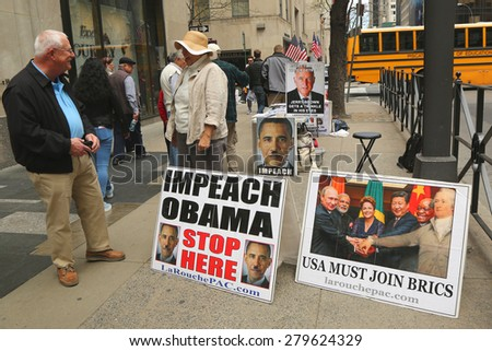 NEW YORK - APRIL 30, 2015: Protesters near Rockefeller Center in midtown Manhattan