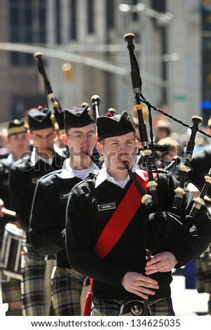 NEW YORK - APRIL 6:  Scenes at The 2013 New York Tartan Day Parade April 6, 2013 in New York City.
