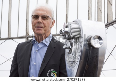 NEW YORK - APRIL 17, 2015: Soccer legend Franz Beckenbauer from the New York Cosmos on the observation deck of the Empire State Building to launch and celebrate the start of the 2015 season. - stock photo