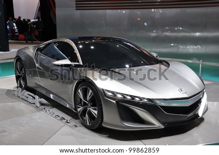 NEW YORK - APRIL 11: The Acura NSX Concept at the 2012 New York International Auto Show running from April 6 to April 15, 2012 in New York, NY. - stock photo