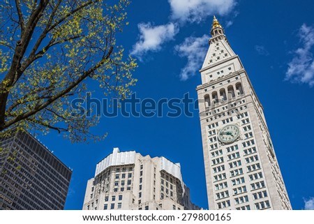 NEW YORK-APRIL 28-The Met Life Tower is currently being converted to The New York Edition Hotel as seen on April 28, 2015 in New York City. - stock photo