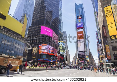 NEW YORK - APRIL 25: Times Square with view looking South, April 25, 2015, New York City