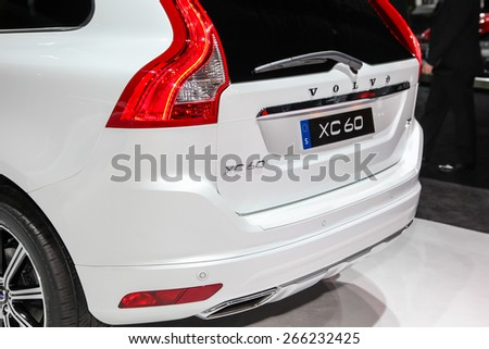 NEW YORK - APRIL 1: Volvo exhibit XC 60 at the 2015 New York International Auto Show during Press day,  public show is running from April 3-12, 2015 in New York, NY. - stock photo
