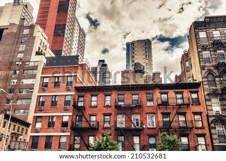 New York Architecture between ancient and modern. - stock photo
