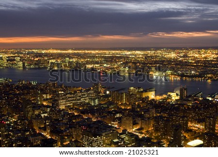 New York at night seen from above - stock photo