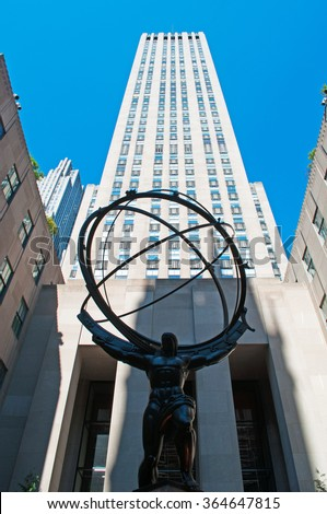 New York: Atlas in front of Rockefeller Center on September 15, 2014. Atlas is a bronze statue created by sculptor Lee Lawrie. Rockefeller Center was declared a National Historic Landmark in 1987 - stock photo