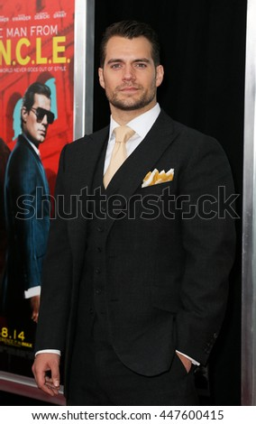 "NEW YORK-AUG 10: Actor Henry Cavill attends ""The Man From U.N.C.L.E."" New York premiere at the Ziegfeld Theatre on August 10, 2015 in New York City. - stock photo"