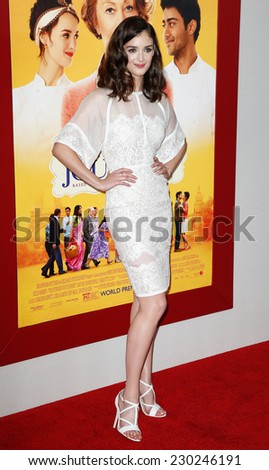 """NEW YORK-AUG 4: Actress Charlotte Le Bon attends """"The Hundred-Foot Journey"""" premiere at the Ziegfeld Theatre on August 4, 2014 in New York City. - stock photo"""