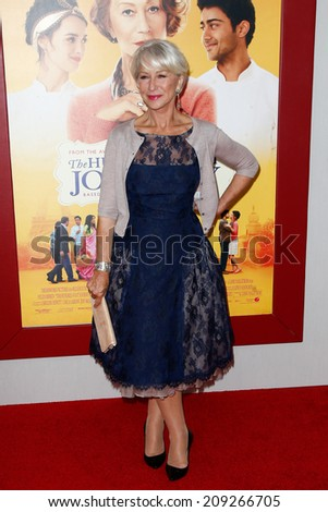 """NEW YORK-AUG 4: Actress Helen Mirren attends """"The Hundred-Foot Journey"""" premiere at the Ziegfeld Theatre on August 4, 2014 in New York City. - stock photo"""