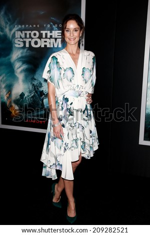 """NEW YORK-AUG 4: Actress Sarah Wayne Callies attends the """"Into The Storm"""" premiere at the AMC Lincoln Square Theater on August 4, 2014 in New York City. - stock photo"""