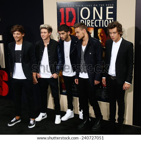 NEW YORK-AUG 26: (L-R) Louis Tomlinson, Zayn Malik, Niall Horan, Liam Payne & Harry Styles of One Direction at 'One Direction:This Is Us' premiere at Ziegfeld Theater August 26, 2013 in New York City. - stock photo