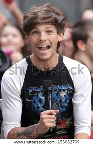 NEW YORK - AUG 23: Louis Tomlinson of One Direction performs on NBC's Today Show at Rockefeller Plaza on August 23, 2013 in New York City. - stock photo