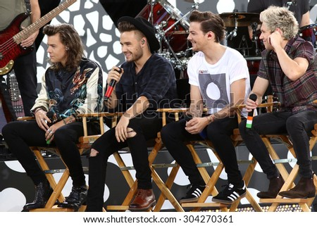 NEW YORK - AUG 4: One Direction performs on 'Good Morning America' in Central Park on August 4, 2015 in New York City. - stock photo