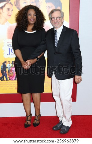 "NEW YORK - AUG 4, 2014: Oprah Winfrey and Steven Spielberg attend the premiere of ""The Hundred Foot Journey"" at the Ziegfeld Theater on August 4, 2014 in New York City. - stock photo"