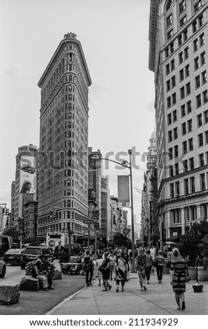 NEW YORK-AUGUST 8-A black and view of the Flatiron Building and district on August 8 2014 in New York City. - stock photo