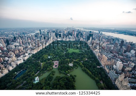 NEW YORK - AUGUST 2: Aerial view of Central Park on  August 2, 2012 in New York City. Central Park is a National Historic Landmark, and one of the largest urban public parks in the world. - stock photo