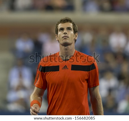 NEW YORK - AUGUST 28: Andy Murray of Great Britain reacts during 1st round match against Michael Llodra of France at 2013 US Open at USTA Billie Jean King Tennis Center on August 28, 2013 in New York - stock photo
