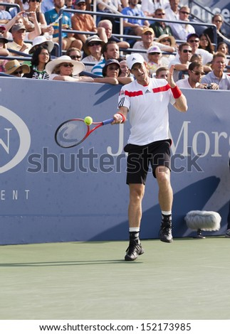 NEW YORK - AUGUST 30: Andy Murray of Great Britain returns ball during 2nd round match against Leonardo Mayer of Argentina at 2013 US Open at USTA Billie Jean King Tennis Center on Aug 30, 2013 in NYC - stock photo