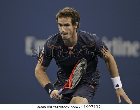 NEW YORK - AUGUST 29: Andy Murray of United Kingdom retruns ball during 2nd round match against Ivan Dodig of Croatia &  at US Open tennis tournament on Augist 29, 2012 in Flushing Meadows New York - stock photo