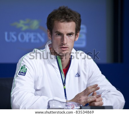 NEW YORK - AUGUST 27: Andy Murray of United Kingdom talks to the media during previews at USTA Billie Jean King National Tennis Center on August 27, 2011 in New York City, NY.