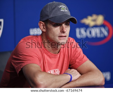 NEW YORK - AUGUST 30: Andy Roddick of USA attends press conference after match against Stephane Robert of France at US Open tennis tournament on August 30, 2010, New York. - stock photo