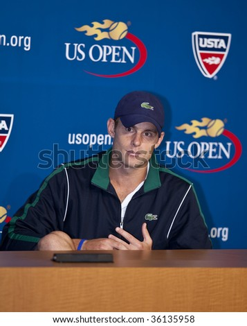 NEW YORK - AUGUST 29: Andy Roddick of USA 2003 champion attends press conference at US Open on August 29 2009 in New York - stock photo