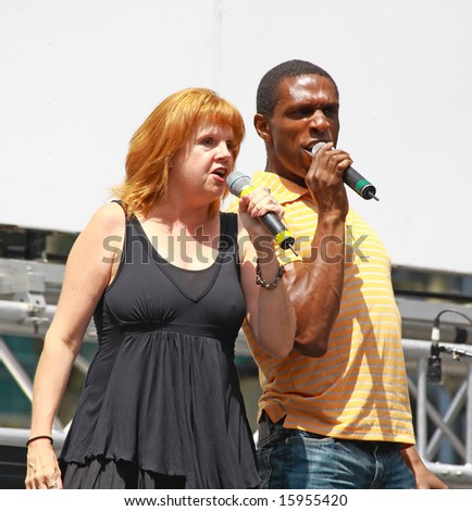 NEW YORK - AUGUST 7: Annie Golden and Andre Ward performed Xanadu at The Broadway in Bryant Park in NYC - a free public event on August 7, 2008 - stock photo