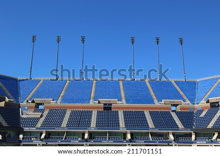 NEW YORK- AUGUST 18: Arthur Ashe Stadium at the Billie Jean King National Tennis Center ready for US Open tournament on August 18, 2014 in New York
