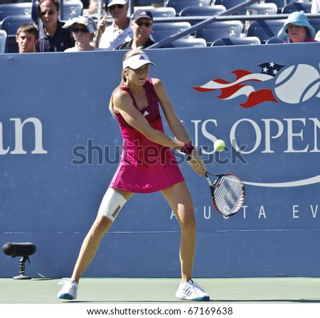 NEW YORK - AUGUST 30: Daniela Hantuchova of Slovakia returns ball during match against Dinara Safina of Russia at US Open tennis tournament on August 30, 2010, New York.
